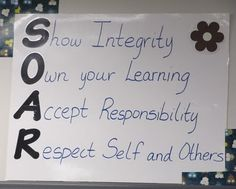 """Show respect, own your learning, accept responsibility, respect self and others...great for classroom """"rules"""" since they're so positive"""
