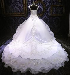 Hand Crafted Chaney Silver Or Gold Huge Ball Gown Wedding Dress - Plus Size Too by Moonlit Bridals | CustomMade.com