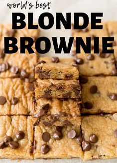 Blonde Brownies are a simple, easy rich dessert recipe. Similar to the classic chocolate brownies, Blondies are flavored vanilla instead of chocolate! Chocolate Chip Blondies, Chocolate Chip Recipes, Chocolate Brownies, Chocolate Chips, Vanilla Brownies, Easy Desserts, Delicious Desserts, Dessert Recipes, Yummy Food