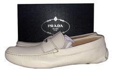 da7fb339010d3 Prada Mens Leather White Moccasin Driver Loafer Daino Shoes  PRADA   DrivingMoccasins