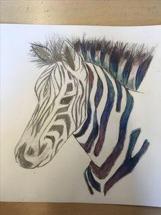 Dit is mijn eind resultaat, het idee was dat een zebra 2 kanten heeft. Een kleurrijke kant  omdat het super mooie dieren zijn die je ook van heel dichtbij kan zien. Een donkere kant omdat er in hun leef gebieden veel word gestroopt op dieren.