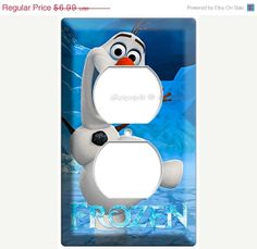 HOLIDAY SALE Funny smiling snowman these Olaf Disney frozen Power outlet cover wall plates children's bedroom leaving room decoration on Etsy, $5.94