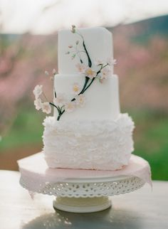 Cherry Blossom Wedding Cake by http://malihacreations.com/ | photography by http://www.jenfariello.com