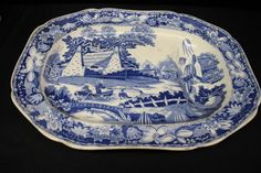"""Rare 1820's English """"Chinese Fisher Boys"""" Blue Transferware Footed Platter"""