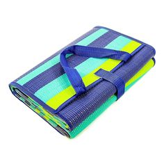"""Camco 42806 Blue Turquoise Green 60"""" x 78"""" Striped Handy Mat with Strap"""