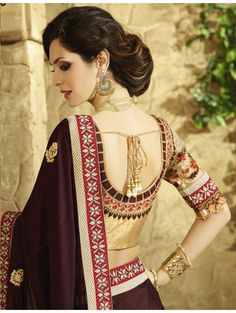Brown and Beige Viscose and Jacquard Embroidered Saree