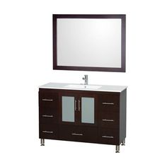 Wyndham Collection WCS100248ESWH Katy 48-in Single Vanity with Porcelain Top and Integrated Sink Set