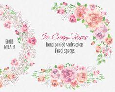 Aquarell Blumen ClipArt: Ecke und gerade von LollysLaneShoppe