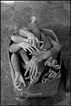 Mannequin factory box of arms/hands, Long Island City, NYC 1969 ph: Erich Hartmann Louise Bourgeois, Vanitas, Dark Side, Erich Hartmann, Long Island City, Doll Parts, Magnum Photos, Macabre, Black And White Photography