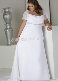 This is an off the Shoulder Plus Size Wedding Dresses with Short sleeves and empire waist