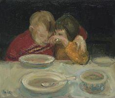 Children Eating   -   Douwe Elias    Dutch,b.1952-  Oil on canvas, 60 x 70 cm.