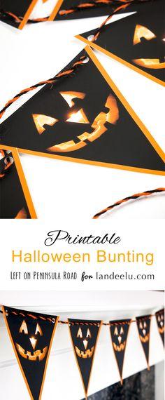 FREE Printable Jack-o'-lantern Halloween Bunting Decoration