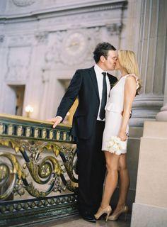 san francisco city hall elopement, short white wedding dress, black suit, nude heels, simple wedding // Michelle Warren Photography