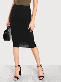 Elegant and Classy Plain Sheath Mid Waist Black Midi Length Elastic Waist Form Fitting Skirt with Lining Skirt Fashion, Fashion Outfits, Rompers Women, Women's Leggings, Spring, Elastic Waist, Midi Skirt, High Waisted Skirt, Pants For Women