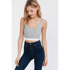 Camp Collection French Terry Cropped Tank Top (45 CAD) ❤ liked on Polyvore featuring tops, grey, gray tank top, scoop neck top, grey tank top, gray crop top and grey top