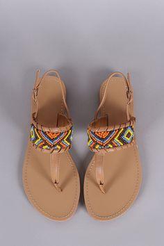 f5b75f5066b9 Liliana Beaded Whip Stitch T-Strap Slingback Thong Flat Sandal
