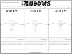 Shadows Graphic Organizer (4th Gr.): Tales of Frogs and Cupcakes