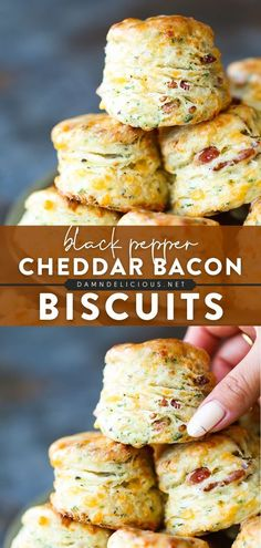 44 reviews · 70 minutes · Serves 16 · These homemade biscuits are the BEST! Not only are they flaky, fluffy, and buttery, but they are also loaded with bacon bits, cheddar cheese, garlic, and black pepper. Enjoy this bread recipe as an… Easy Bread Recipes, Casserole Recipes, Baking Recipes, Quick Bread, Homemade Biscuits, The Best, Popular Recipes, Bread Baking, Grilling Recipes
