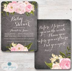 Chalkboard Floral Baby Girl Shower Invitation with Pink Blush Peonies and Roses. Scripture Bible Verse back!