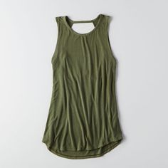 AEO Soft & Sexy Cowl Back Jegging (Jeans) Tank ($25) ❤ liked on Polyvore featuring pants, leggings, olive green, sexy jeggings, jeggings leggings, jean leggings, olive pants and military green pants