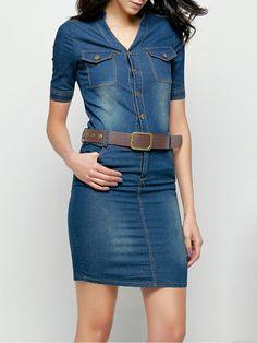 Ladylike&comfortable Band Collar Denim Plain Bodycon-dress
