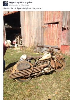 40 Hauntingly Beautiful Abandoned Places And Forgotten Thing… – Motorcycle Ideas Vintage Indian Motorcycles, Antique Motorcycles, Triumph Motorcycles, Vintage Bikes, Custom Motorcycles, Custom Bikes, Cars And Motorcycles, Indian Motorbike, Indian Motors