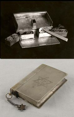 This compact silver Hanukkah Menorah folds up into the form of a prayer book.   It was presented to Mordecai Rumkowski, head of the Judenrat in the Lodz Ghetto by Ziso Eybeshitz who ran the paper factory in the Ghetto. The Menorah was found in the ruins of Rumkowski's home in the Ghetto.