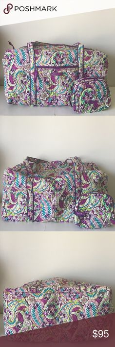 """💜💜 Disney Duffle and Cosmetic Bag 💜💜 Closet de-stash - everything needs to go 🦄 Outside has a slip pocket on the end. Zip closure. Dimensions: 22"""" w x 11 ½"""" h x 11 ½"""" d with a 15"""" strap. Authentic Disney/Vera Bradley. Pattern: Mickey Plums Up 💜 Exact bags in photos 💜Condition is PERFECT. Hasn't been used. 💜 Smoke free home 💜 Reasonable offers considered Vera Bradley Bags Travel Bags"""