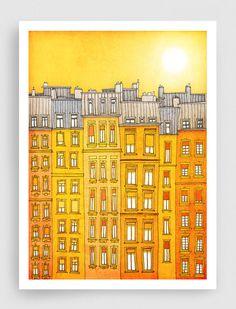 Paris illustration - Yellow facade - Fine art illustration,Fine art prints,Art Posters,Paris art,Yellow,Paris decor,Wall art,wall decor