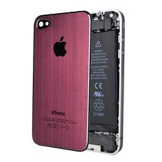 iPhone 4 / 4S Brushed Metal Back Cover Plate - Pink