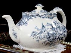 Crown Ducal Bristol Grey / Blue Transferware Teapot Tea Pot Made in England 12766