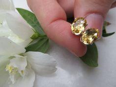 Citrine studs Sterling Silver earrings Semi by Inspiredby10
