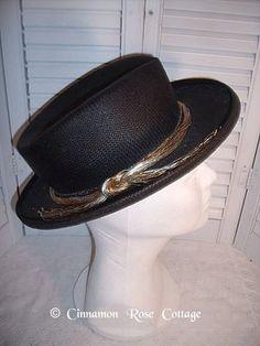 Vintage Importina Ladies Black Straw Hat with Metallic Cording | eBay