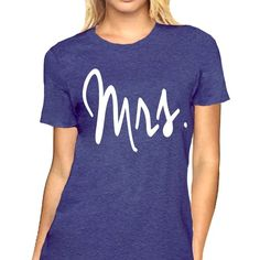 Mrs shirt ($14) ❤ liked on Polyvore featuring tops, shirt tops, blue top and blue shirt