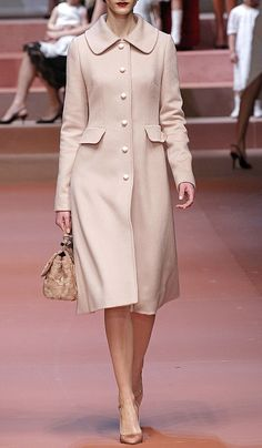 Pale Pink Cashmere Dress Coat by Dolce
