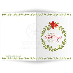 Happy Holidays green and red floral foliage card