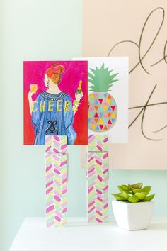 DIY Painted Clothespin Photo + Card Holders featuring our Glitter Guide x Thimblepress® Tiffany Cheers! Card   Dream Green DIY + @decoart