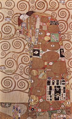 """""""The Fulfillment"""" GUSTAV KLIMT, 1905. Cartoon for the right portion of a 20 foot mosaic frieze, one of two, in the Stoclet dining room. The completed mosaic is inlaid with a variety of luxury materials, including marble, gilded and enameled tiles, along with pearls and other semi-precious stones."""