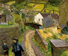 'The Road out of Holmfirth' by Carel Victor Morlais Weight (oil on canvas) Perspective Art, Paint Photography, Vanishing Point, Photography Exhibition, Urban Landscape, Landscape Art, Landscape Paintings, Royal College Of Art, Rome Travel