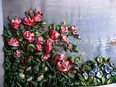 Вышивка картины в смешанной технике «Лебединый домик». Мастер класс с фото. Часть 12