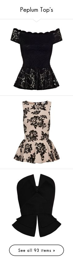 """Peplum Top's"" by elenaloveugg ❤ liked on Polyvore featuring tops, blouses, shirts, blusas, lace blouse, peplum blouse, off the shoulder blouse, black lace top, off the shoulder shirts and peplum"