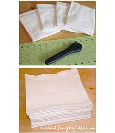 "How to turn a 5-dollar pack of flour sack towels into 20 reusable ""paper towels"" that you can use over and over and over......."