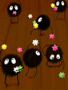 Soot Sprites from Spirited Away. I had to watch this in my film class. I loved it.