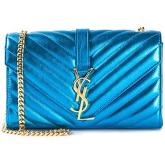 Saint Laurent small 'Monogram' satchel (4,870 BAM) ❤ liked on Polyvore featuring bags, handbags, blue, monogram handbags, yves saint laurent purse, satchel purse, blue satchel and yves saint laurent handbags
