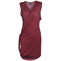 MCQ BY ALEXANDER MCQUEEN TWISTED DRAPE FRONT DRESS ($185) ❤ liked on Polyvore featuring dresses, alexander mcqueen, vestidos, vestiti, women, drape front dress, draped dress, jersey dress, burgundy red dress and burgundy dress