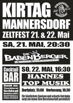 Die Babenberger - A wüde Volksmusik am Kirtag in Mannersdorf www.diebabenberger.at Live, Prize Draw, Carpentry, Poster