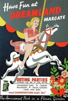 Dreamland Funfair, Margate, Kent vintage poster