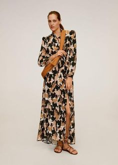 Mango Lange jurk met print - online shoppen - Fashionchick.nl Mango, Duster Coat, Evening Dresses, Latest Trends, Print Design, Neckline, V Neck, Style Inspiration, Long Sleeve