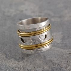 Spinning Heart Ring Silver, 55€, now featured on Fab.