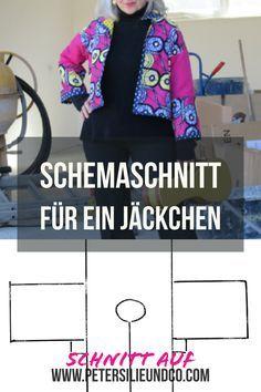 Einfach, schnell genäht, dafür mit interessaten Stoff: Ein Schemaschnitt für eine Jacke. #waxprint #nähen #jäckchen #diy #fashion #schnittmuster #gratis